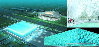 The 'Water Cube' swimming centre in the foreground with the 'Birds Nest' stadium in the background – both structures analysed with Strand7